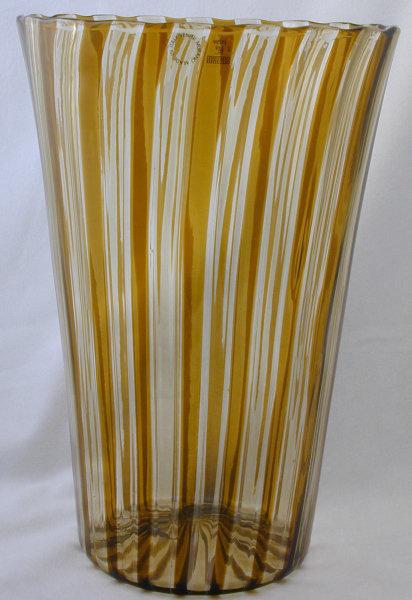Signed Venini Murano Canne Vase in Straw/Amber