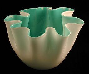 Venini Murano Fazzoletto White/Turquoise Incamiciato