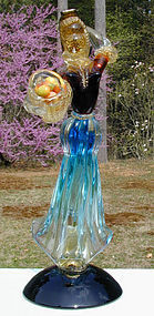 Murano Figure of a Young Woman with Fruit Basket