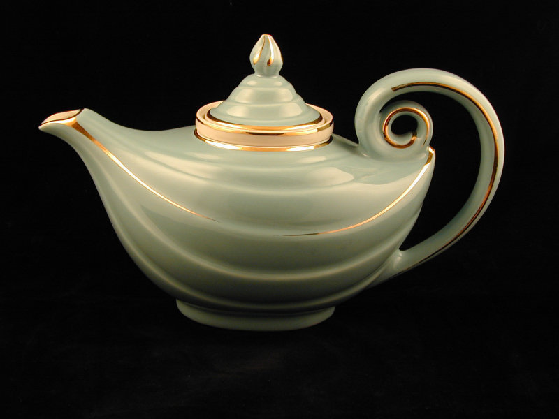 Pair HALL Aladdin Teapots Lid/Infuser Gold Trimmed
