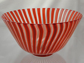 Venini  Murano 'a canne' Bowl - Eye Catching in Red!
