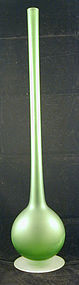 Carlo Moretti Pencil Neck Vase Green Satinato Glass