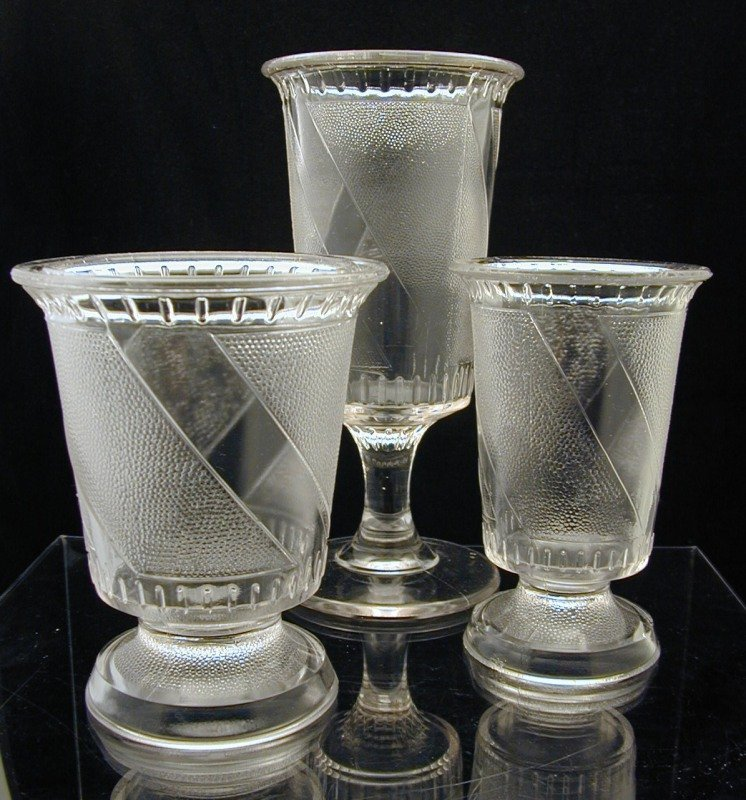 EAPG Trio of Celery, Spooner and Sugar in Clear Diagonal Band