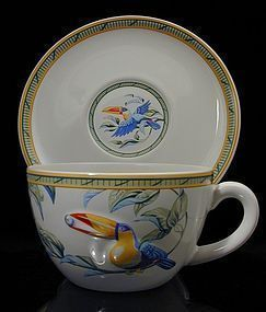 "Hermes ""Toucans"" Moustiers Breakfast Cups with Saucers"