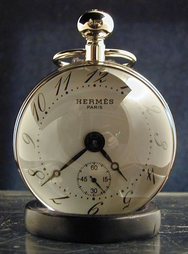 HERMES Paris Crystal & Stainless Boule Clock