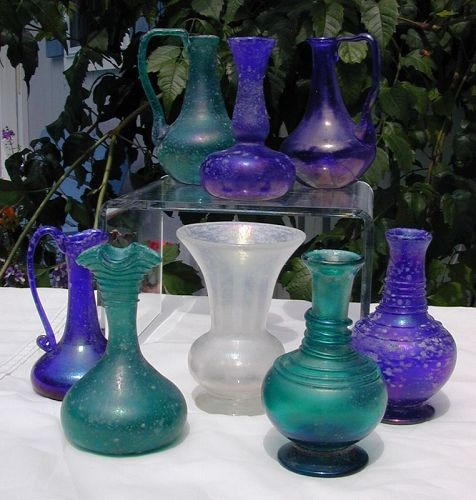 Collection of AVEM Murano Scavo vases, with labels