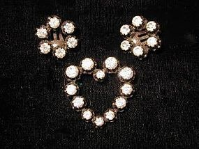 Rhinestone Pin and Earring Set marked AUSTRIA
