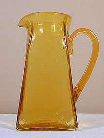 Signed Blenko Pitcher in RARE Gold Color