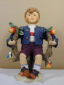 M.I. Hummel Apple Tree Boy and Girl Porcelain Dolls