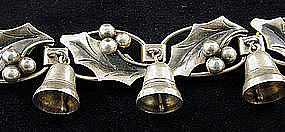 Gallegos Sterling Holly and Bells Bracelet