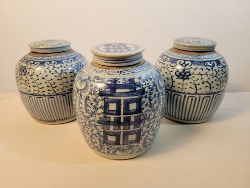 Blue and White Glazed Jars from China, Set of 3 (20th Century)