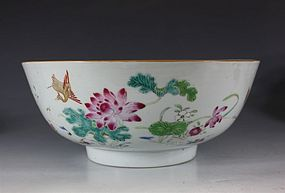 CHINESE FAMILLE ROSE PUNCH BOWL 18thC