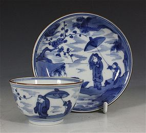 JAPANESE ARITA BLUE AND WHITE TEABOWL AND SAUCER C1700