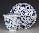 CHINESE BLUE AND WHITE BEAKER AND SAUCER KANGXI C1700