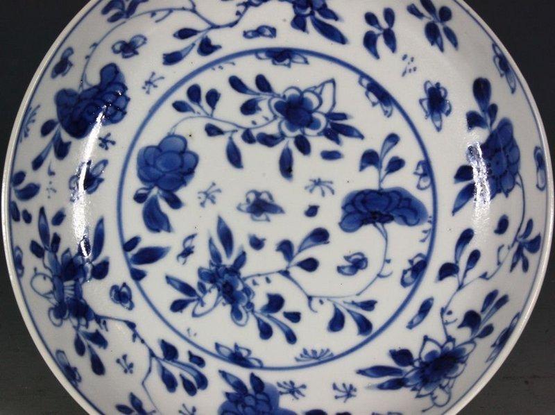 CHINESE BLUE AND WHITE BEAKER AND SAUCER KANGXI C1700