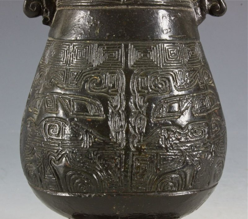 CHINESE YUAN BRONZE VASE 13TH/14THC