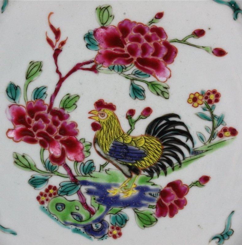 CHINESE FAMILLE ROSE COCKEREL PLATE YONGZHENG 18THC