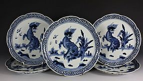 FIVE ARITA BLUE AND WHITE DISHES 17/18THC