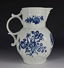 WORCESTER BLUE AND WHITE CABBAGE LEAF JUG C1770