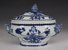 Chinese Blue and White Sauce Tureen and Cover Qianlong