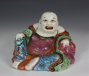 CHINESE FAMILLE ROSE FIGURE OF PU TAI 19THC