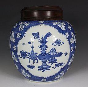 CHINESE BLUE AND WHITE GINGER JAR KANGXI L17THC