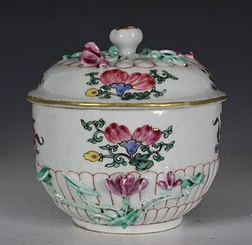 CHINESE FAMILLE ROSE SUGAR BOWL AND COVER YONGZHENG