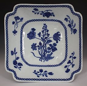 CHINESE BLUE AND WHITE SQUARE BOWL QIANLONG
