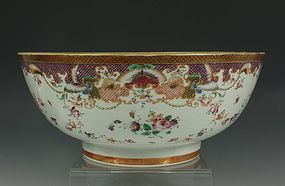 CHINESE FAMILLE ROSE PUNCH BOWL QIANLONG C1770/80