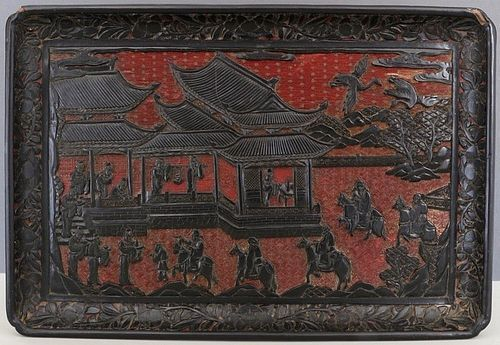 CHINESE MING STYLE CARVED TWO COLOUR CINNABAR LACQUER TRAY 19THC