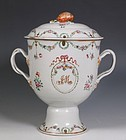 CHINESE EXPORT FAMILLE ROSE URN AND COVER QIANLONG C1775/85