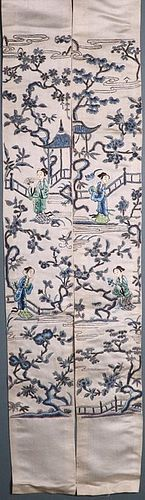 A PAIR OF CHINESE SILK SLEEVE BANDS L19thC