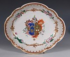CHINESE FAMILLE ROSE ARMORIAL DISH Qianlong C1750