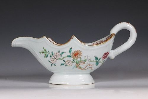 Chinese Famille Rose Silver Shape Sauce Boat Qianlong C1750