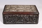 A Straits Chinese Silver Pillow End Mounted Wood Box L19thC
