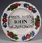 FINE ROGERS CHILDS PLATE NAMED JOHN C1840