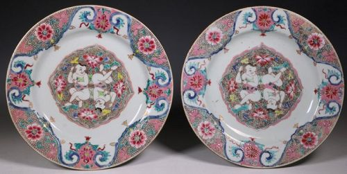 Rare Pair Of Chinese Famille Rose Plates Qianlong C1735/45