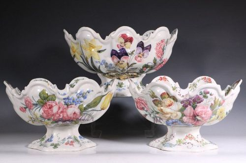 Set of Three Nove Faience Monteiths 19thC