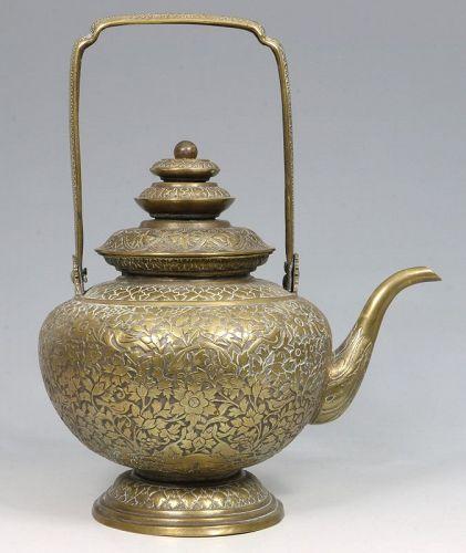 A Thai Brass Kettle Kar Nam Ton 19thc