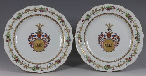 Pair of Chinese Famille Rose Armorial Plates Qianlong C1750/60