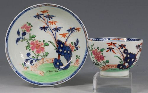 A Lowestoft Redgrave Pattern Tea Bowl and Saucer C1785