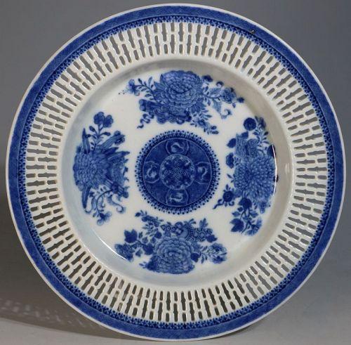 A Blue Fitzhugh Reticulated Dish C1800