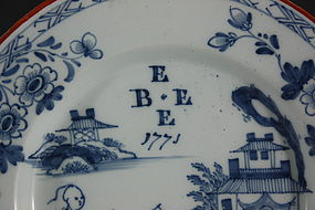 Rare English Delft Plate Dated 1771