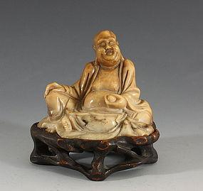 Chinese Soapstone Pu Tai 19thC