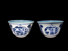 Early 18th Century Kangxi Blue and White Wine Cups