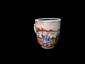 "Late 18th Century Export ""Mandarin"" Enameled Tea Cup"