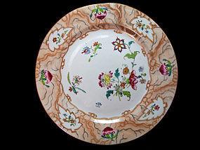18th Century Qianlong Famille Rose Faux Bois Plate
