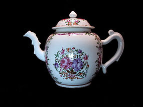 Chinese 18th C. Qianlong Export Famille Rose Teapot