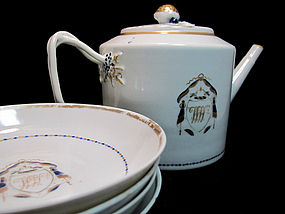 Late 18th C. American Market Export Teapot & 4 Saucers
