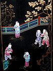 Famille Rose Tongzhi Lacquer Screen w/ Carved Stand